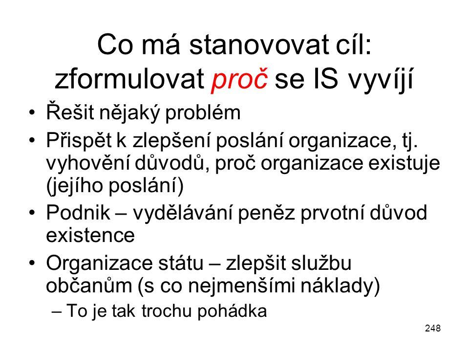 248 Co má stanovovat cíl: zformulovat proč se IS vyvíjí Řešit nějaký problém Přispět k zlepšení poslání organizace, tj. vyhovění důvodů, proč organiza