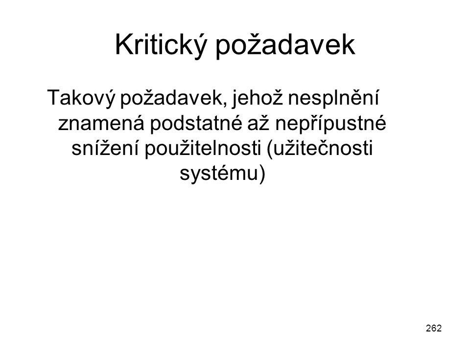 262 Kritický požadavek Takový požadavek, jehož nesplnění znamená podstatné až nepřípustné snížení použitelnosti (užitečnosti systému)