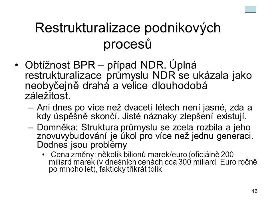 46 Restrukturalizace podnikových procesů Obtížnost BPR – případ NDR. Úplná restrukturalizace průmyslu NDR se ukázala jako neobyčejně drahá a velice dl