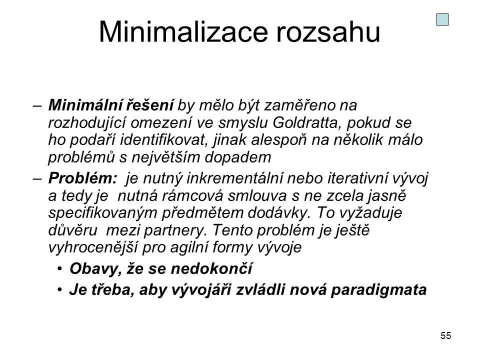 55 Minimalizace rozsahu –Minimální řešení by mělo být zaměřeno na rozhodující omezení ve smyslu Goldratta, pokud se ho podaří identifikovat, jinak ale