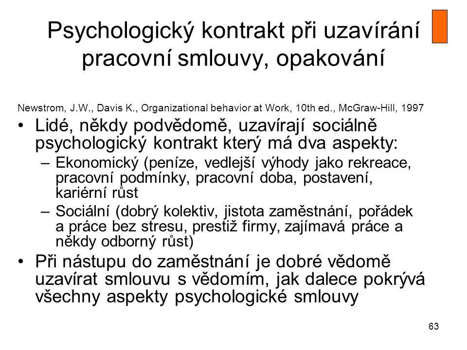 63 Psychologický kontrakt při uzavírání pracovní smlouvy, opakování Newstrom, J.W., Davis K., Organizational behavior at Work, 10th ed., McGraw-Hill,