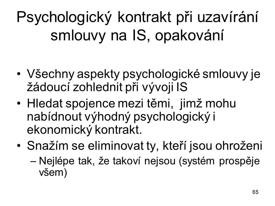 65 Psychologický kontrakt při uzavírání smlouvy na IS, opakování Všechny aspekty psychologické smlouvy je žádoucí zohlednit při vývoji IS Hledat spoje