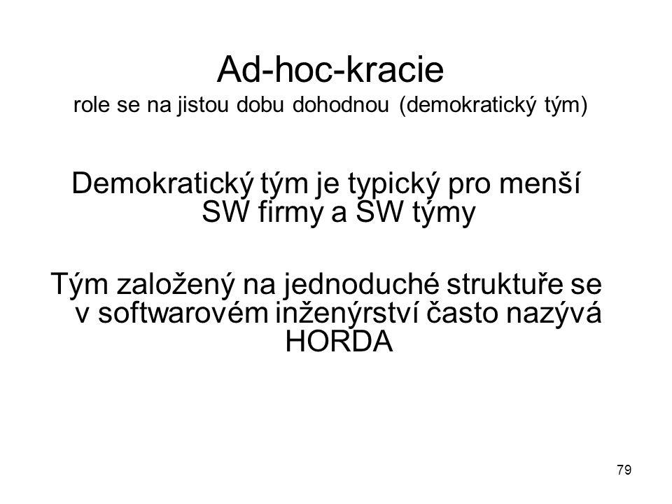 79 Ad-hoc-kracie role se na jistou dobu dohodnou (demokratický tým) Demokratický tým je typický pro menší SW firmy a SW týmy Tým založený na jednoduch