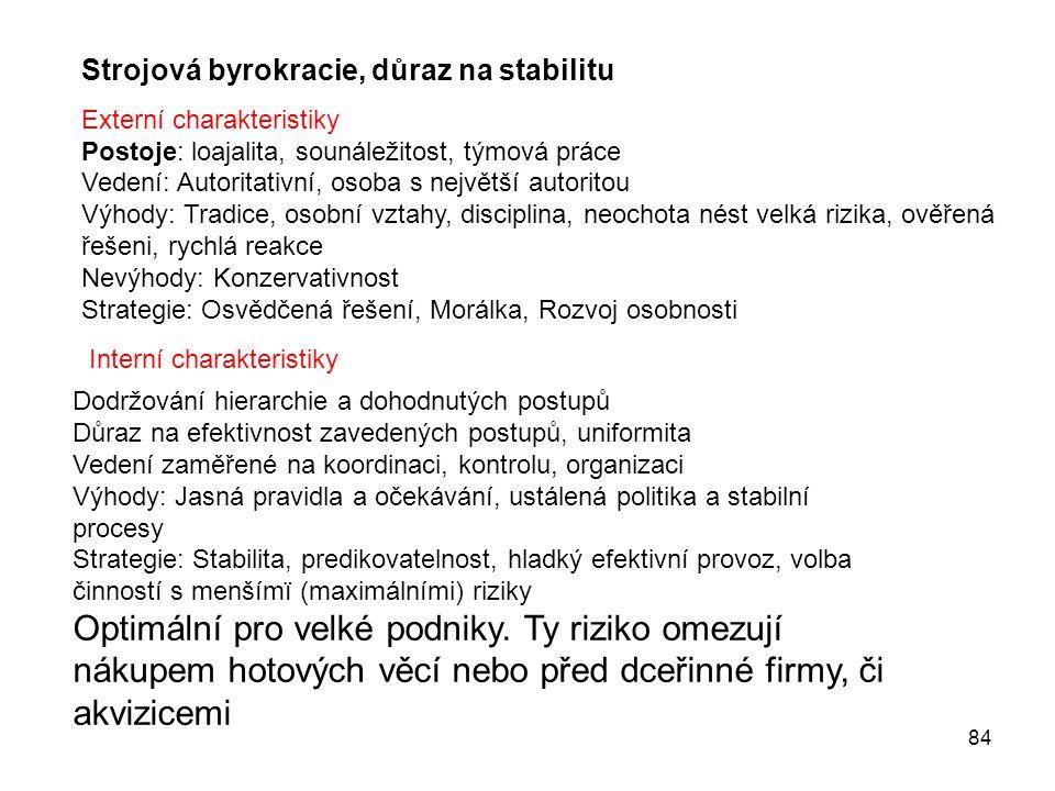 84 Strojová byrokracie, důraz na stabilitu Externí charakteristiky Postoje: loajalita, sounáležitost, týmová práce Vedení: Autoritativní, osoba s nejv