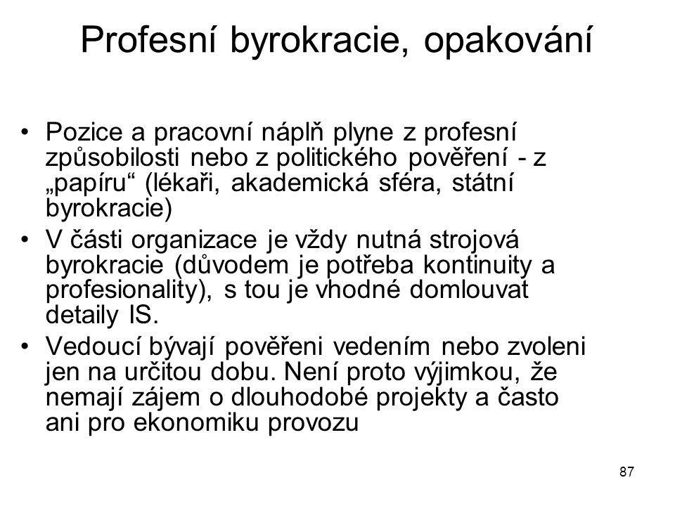"""87 Profesní byrokracie, opakování Pozice a pracovní náplň plyne z profesní způsobilosti nebo z politického pověření - z """"papíru"""" (lékaři, akademická s"""