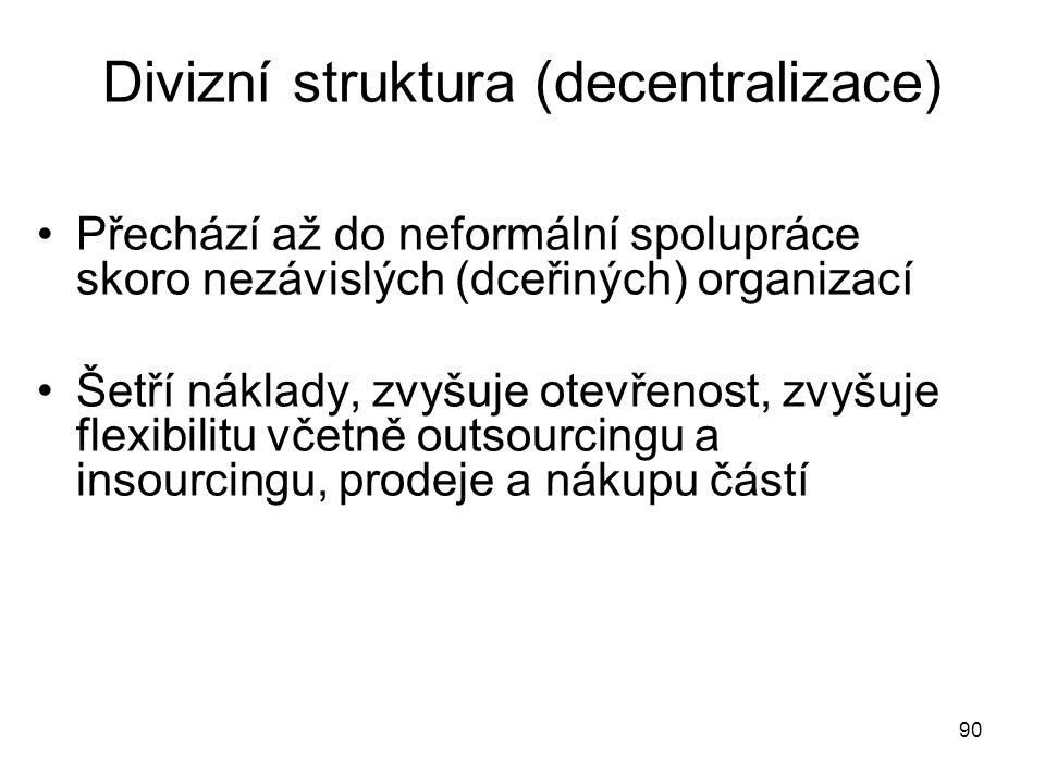 90 Divizní struktura (decentralizace) Přechází až do neformální spolupráce skoro nezávislých (dceřiných) organizací Šetří náklady, zvyšuje otevřenost,
