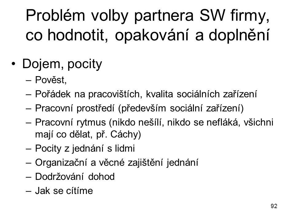 92 Problém volby partnera SW firmy, co hodnotit, opakování a doplnění Dojem, pocity –Pověst, –Pořádek na pracovištích, kvalita sociálních zařízení –Pr