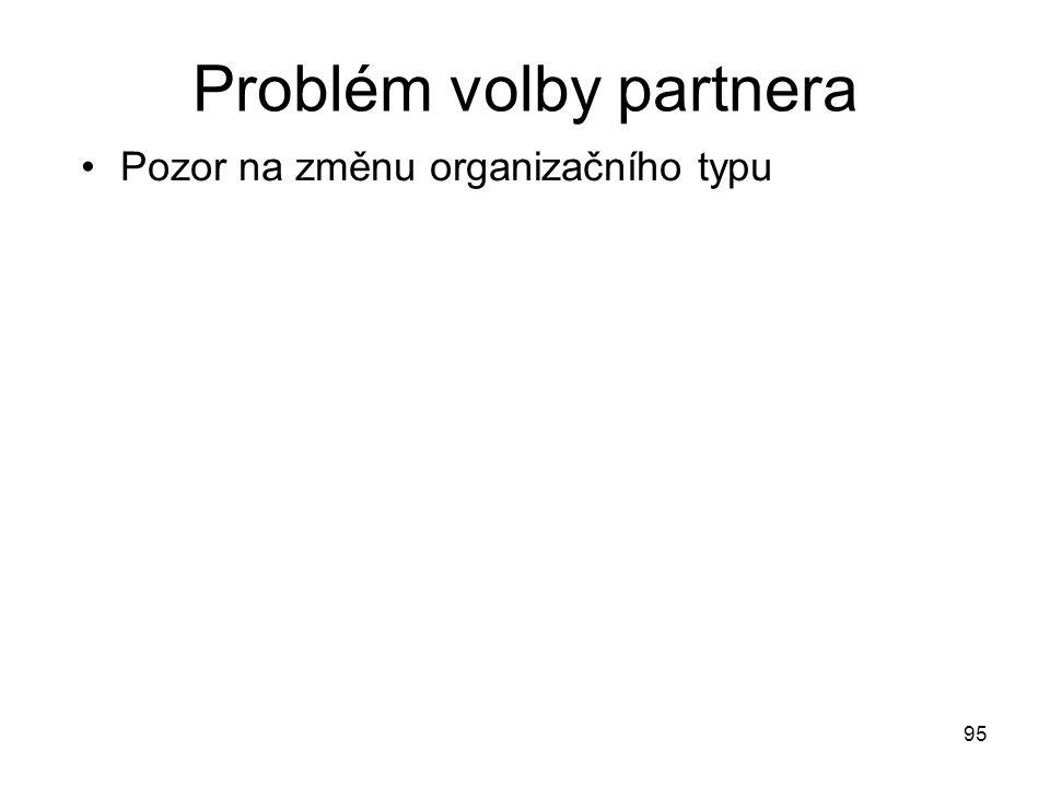 95 Problém volby partnera Pozor na změnu organizačního typu