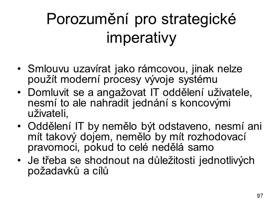 97 Porozumění pro strategické imperativy Smlouvu uzavírat jako rámcovou, jinak nelze použít moderní procesy vývoje systému Domluvit se a angažovat IT