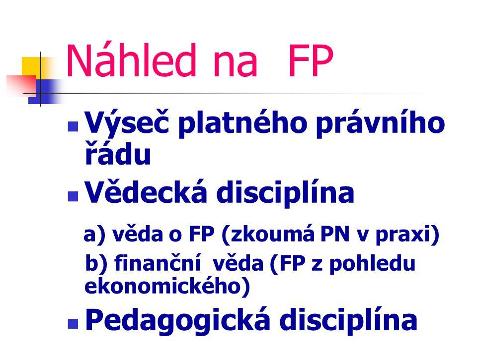 Náhled na FP Výseč platného právního řádu Vědecká disciplína a) věda o FP (zkoumá PN v praxi) b) finanční věda (FP z pohledu ekonomického) Pedagogická