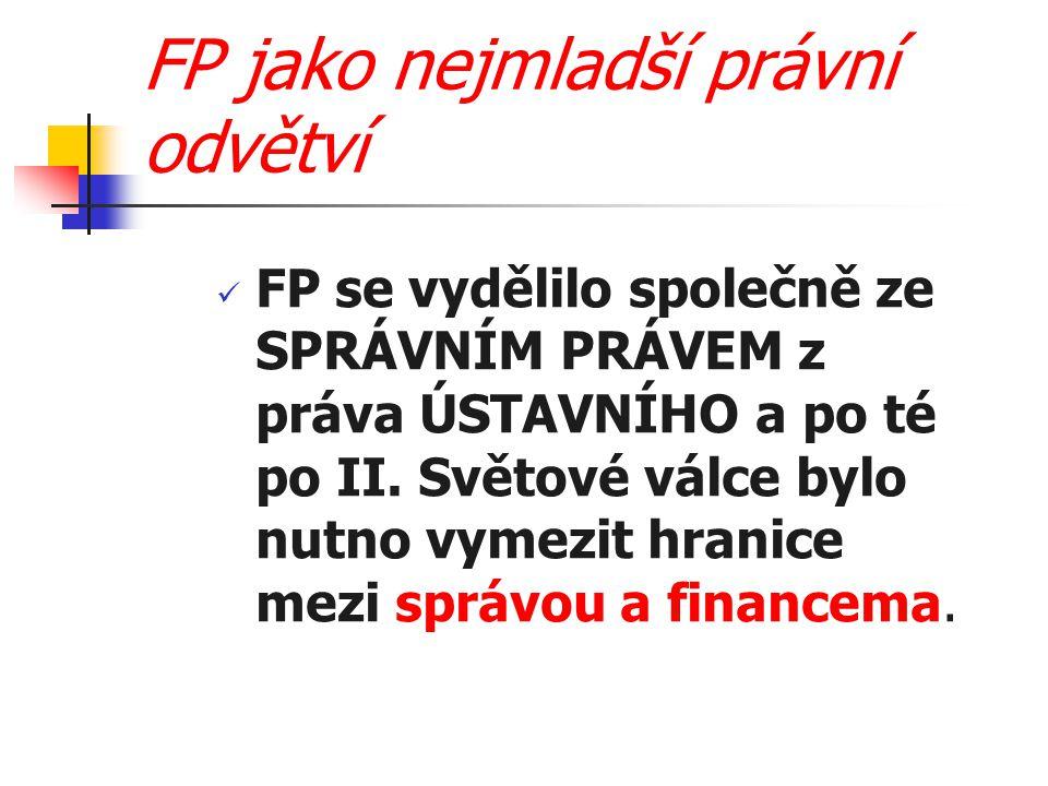 FP jako nejmladší právní odvětví FP se vydělilo společně ze SPRÁVNÍM PRÁVEM z práva ÚSTAVNÍHO a po té po II. Světové válce bylo nutno vymezit hranice