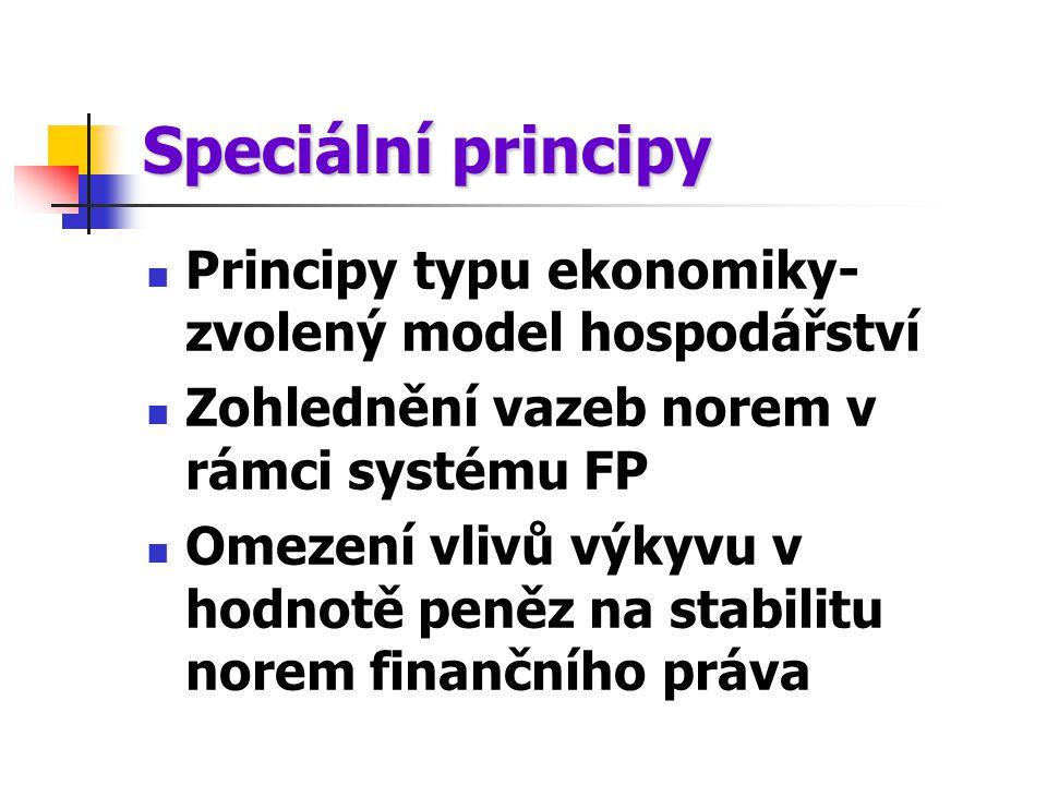 Speciální principy Principy typu ekonomiky- zvolený model hospodářství Zohlednění vazeb norem v rámci systému FP Omezení vlivů výkyvu v hodnotě peněz