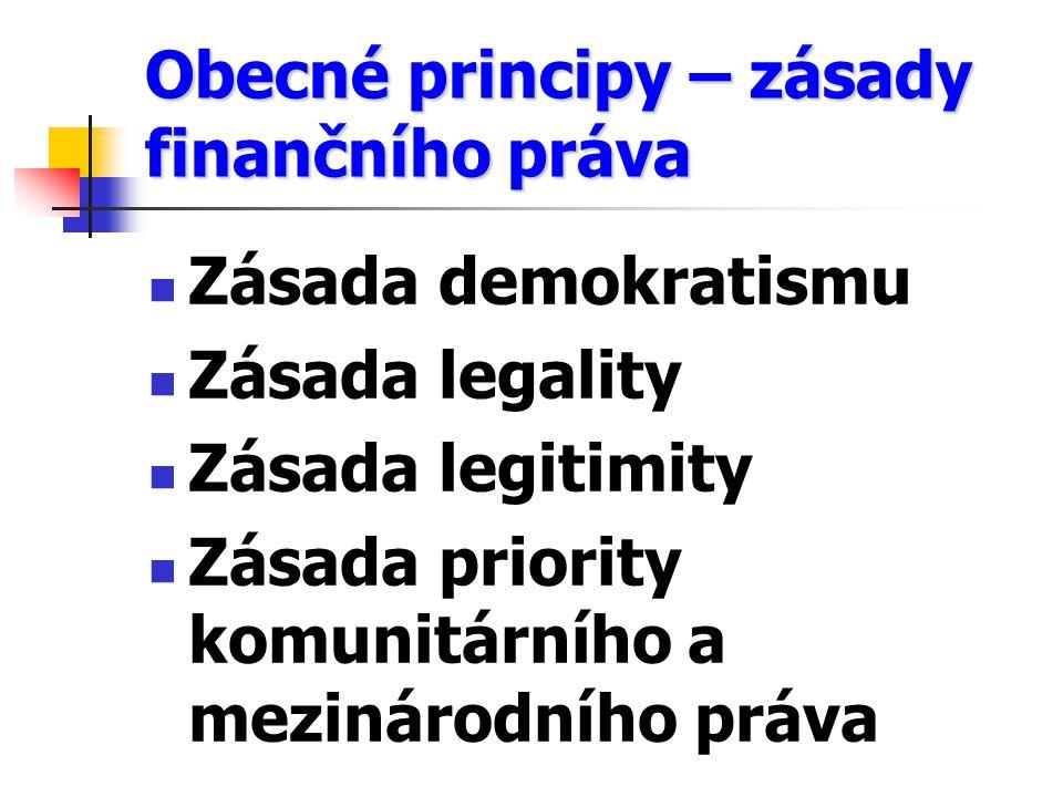 Obecné principy – zásady finančního práva Zásada demokratismu Zásada legality Zásada legitimity Zásada priority komunitárního a mezinárodního práva