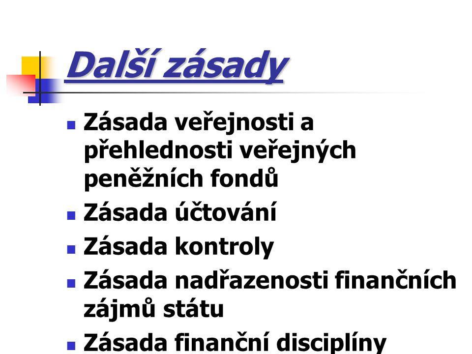 Další zásady Zásada veřejnosti a přehlednosti veřejných peněžních fondů Zásada účtování Zásada kontroly Zásada nadřazenosti finančních zájmů státu Zás