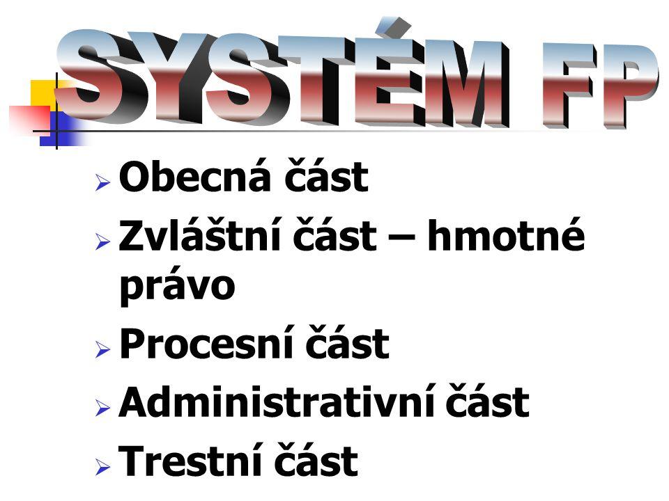  Obecná část  Zvláštní část – hmotné právo  Procesní část  Administrativní část  Trestní část