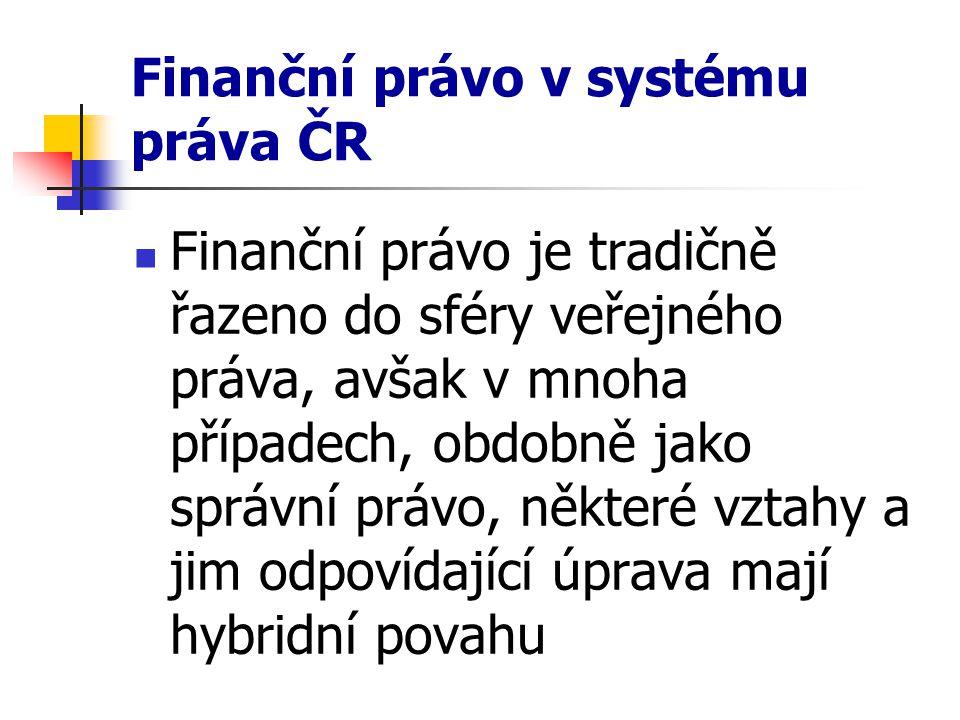 Finanční právo v systému práva ČR Finanční právo je tradičně řazeno do sféry veřejného práva, avšak v mnoha případech, obdobně jako správní právo, něk
