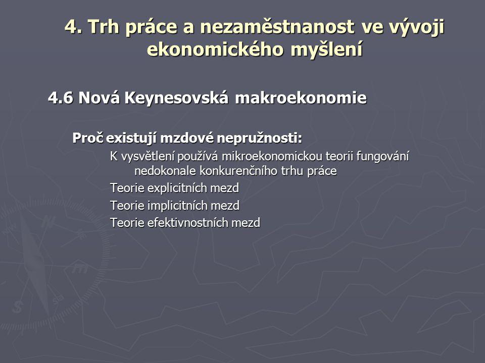 4.6 Nová Keynesovská makroekonomie Proč existují mzdové nepružnosti: K vysvětlení používá mikroekonomickou teorii fungování nedokonale konkurenčního trhu práce Teorie explicitních mezd Teorie implicitních mezd Teorie efektivnostních mezd 4.