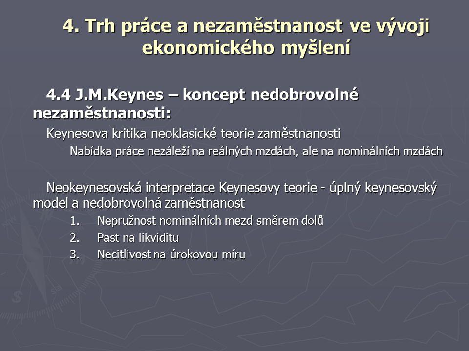 4.4 J.M.Keynes – koncept nedobrovolné nezaměstnanosti: Keynesova kritika neoklasické teorie zaměstnanosti Nabídka práce nezáleží na reálných mzdách, ale na nominálních mzdách Neokeynesovská interpretace Keynesovy teorie - úplný keynesovský model a nedobrovolná zaměstnanost 1.Nepružnost nominálních mezd směrem dolů 2.Past na likviditu 3.Necitlivost na úrokovou míru 4.