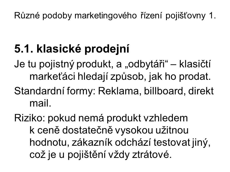 Různé podoby marketingového řízení pojišťovny 1. 5.1.