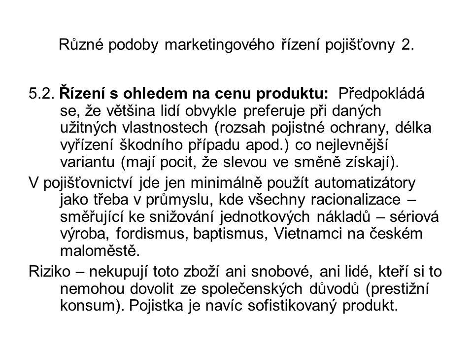 Různé podoby marketingového řízení pojišťovny 2. 5.2.
