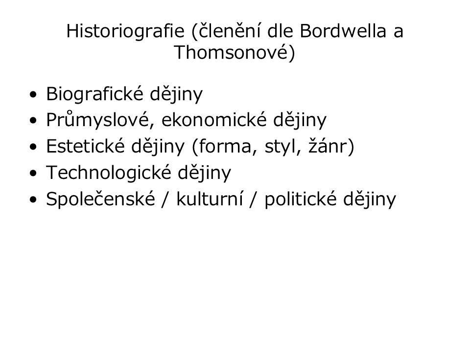 Historiografie (členění dle Bordwella a Thomsonové) Biografické dějiny Průmyslové, ekonomické dějiny Estetické dějiny (forma, styl, žánr) Technologick