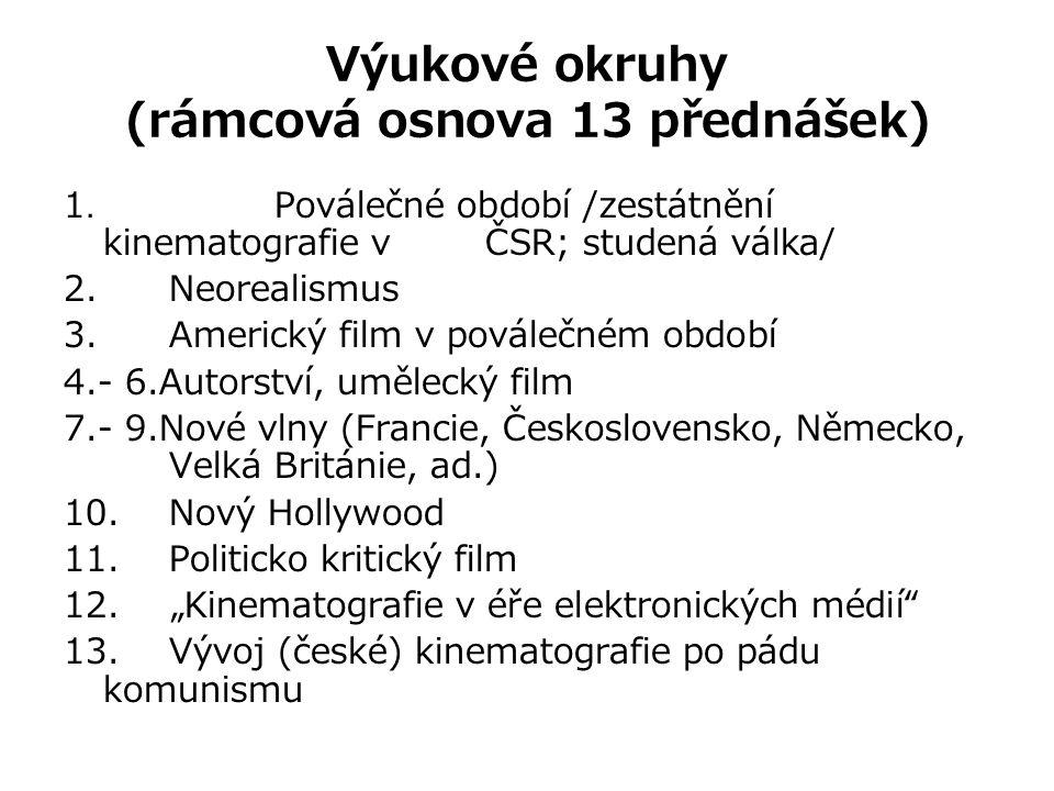 Výukové okruhy (rámcová osnova 13 přednášek) 1. Poválečné období /zestátnění kinematografie v ČSR; studená válka/ 2. Neorealismus 3. Americký film v p