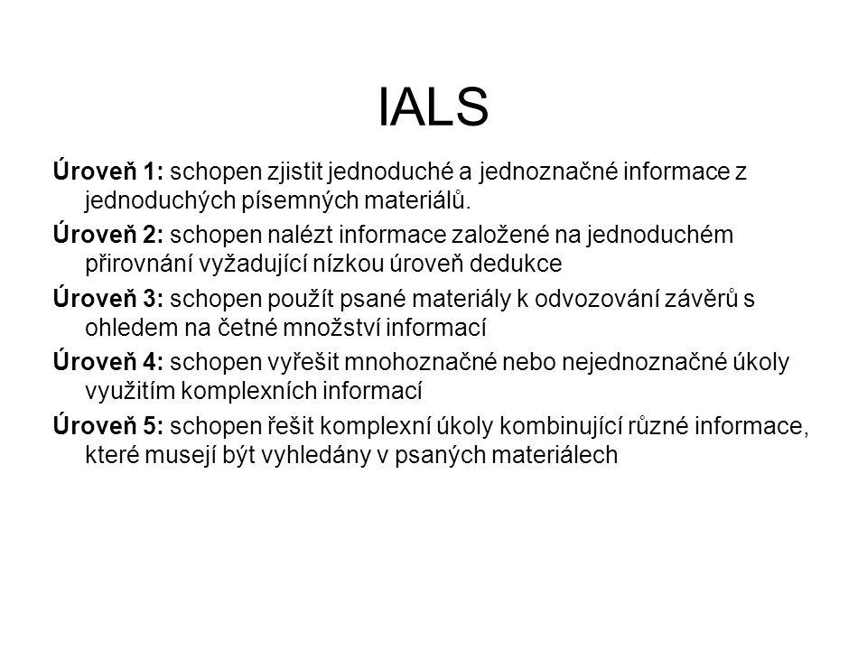 IALS Úroveň 1: schopen zjistit jednoduché a jednoznačné informace z jednoduchých písemných materiálů. Úroveň 2: schopen nalézt informace založené na j