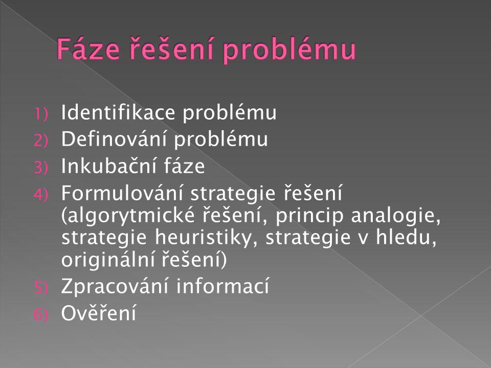 1) Identifikace problému 2) Definování problému 3) Inkubační fáze 4) Formulování strategie řešení (algorytmické řešení, princip analogie, strategie heuristiky, strategie v hledu, originální řešení) 5) Zpracování informací 6) Ověření