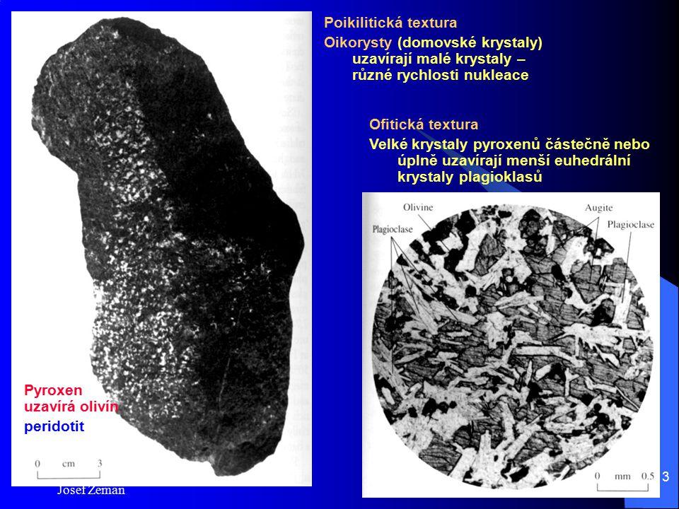 Josef Zeman 13 Poikilitická textura Oikorysty (domovské krystaly) uzavírají malé krystaly – různé rychlosti nukleace Ofitická textura Velké krystaly p