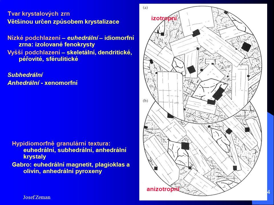 Josef Zeman 14 Tvar krystalových zrn Většinou určen způsobem krystalizace Nízké podchlazení – euhedrální – idiomorfní zrna: izolované fenokrysty Vyšší
