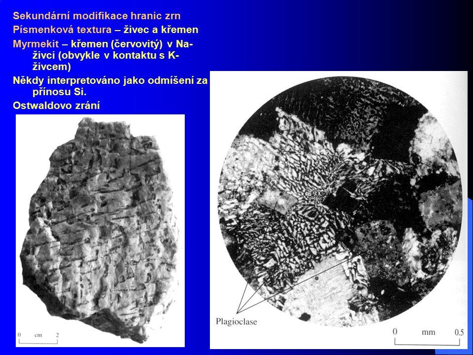 Josef Zeman 20 Sekundární modifikace hranic zrn Písmenková textura – živec a křemen Myrmekit – křemen (červovitý) v Na- živci (obvykle v kontaktu s K-
