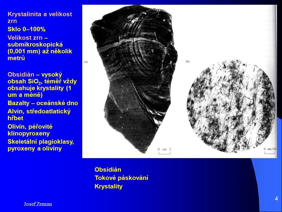 Josef Zeman 4 Obsidián Tokové páskování Krystality Krystalinita a velikost zrn Sklo 0–100% Velikost zrn – submikroskopická (0,001 mm) až několik metrů