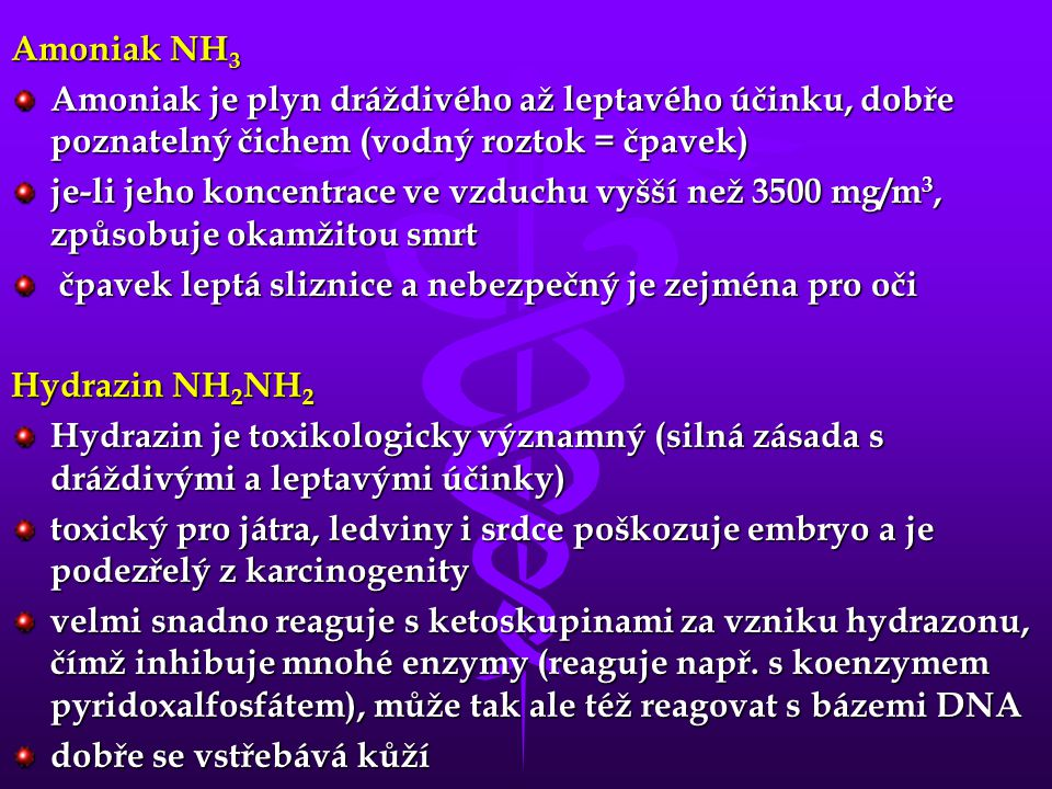 Amoniak NH 3 Amoniak je plyn dráždivého až leptavého účinku, dobře poznatelný čichem (vodný roztok = čpavek) je-li jeho koncentrace ve vzduchu vyšší n