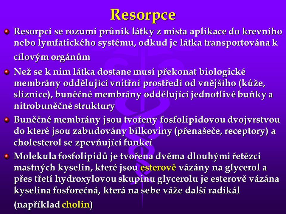 Resorpce Resorpcí se rozumí průnik látky z místa aplikace do krevního nebo lymfatického systému, odkud je látka transportována k cílovým orgánům Než s