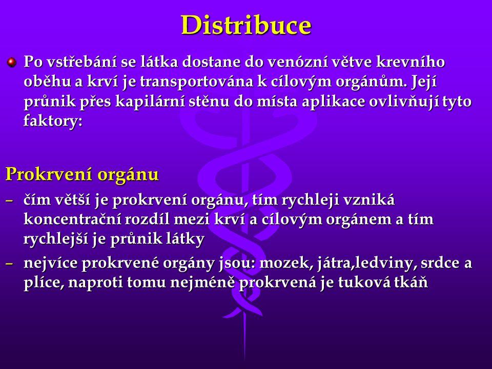 Distribuce Po vstřebání se látka dostane do venózní větve krevního oběhu a krví je transportována k cílovým orgánům. Její průnik přes kapilární stěnu