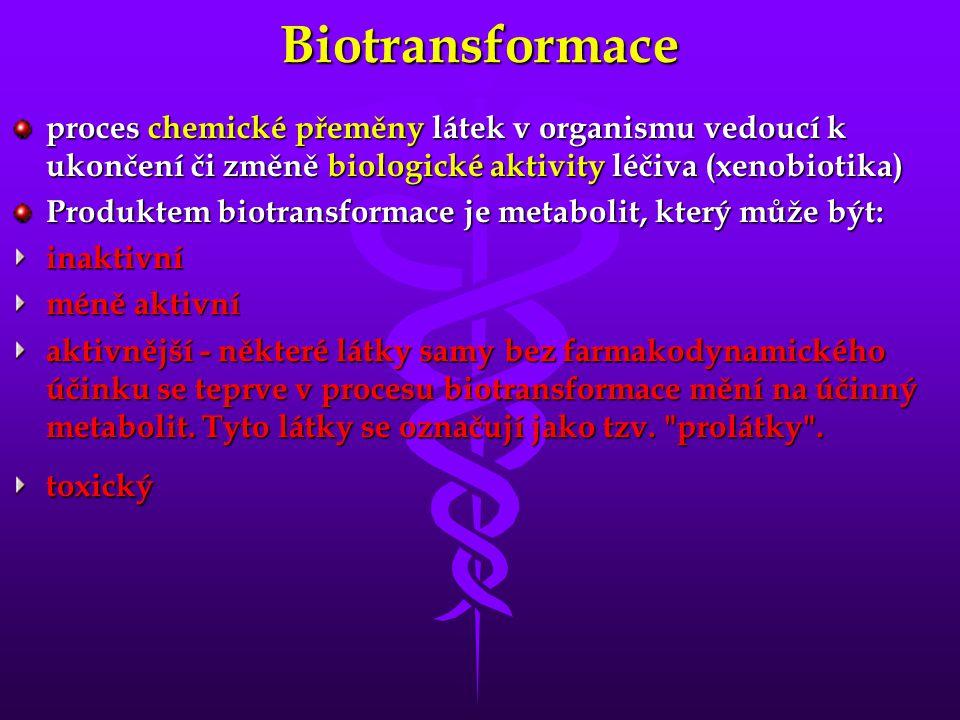 Biotransformace proces chemické přeměny látek v organismu vedoucí k ukončení či změně biologické aktivity léčiva (xenobiotika) Produktem biotransforma