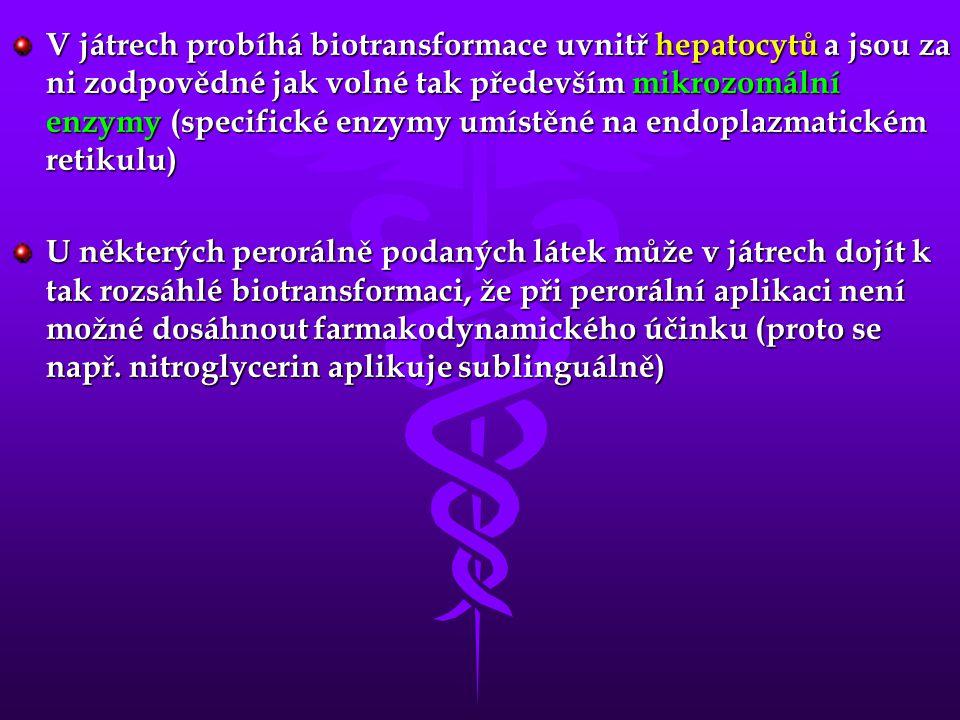 V játrech probíhá biotransformace uvnitř hepatocytů a jsou za ni zodpovědné jak volné tak především mikrozomální enzymy (specifické enzymy umístěné na endoplazmatickém retikulu) U některých perorálně podaných látek může v játrech dojít k tak rozsáhlé biotransformaci, že při perorální aplikaci není možné dosáhnout farmakodynamického účinku (proto se např.