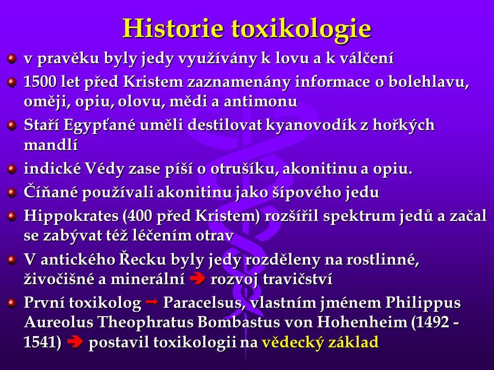 Historie toxikologie v pravěku byly jedy využívány k lovu a k válčení 1500 let před Kristem zaznamenány informace o bolehlavu, oměji, opiu, olovu, měd