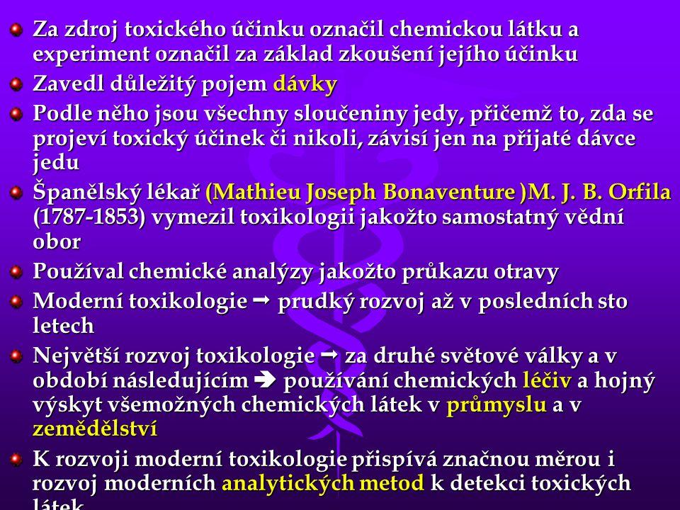 Členění toxikologie Obecná toxikologie zkoumá obecné zákonitosti interakce chemických látek a živých organismů zkoumá jak se látka do organismu dostává, jak se dále mění, jak interaguje s důležitými orgány a jak se vylučuje Popisuje různé faktory, které tyto děje ovlivňují  uplatňuje poznatky z xenobiochemie = biochemie cizorodých látek definuje základní pojmy užívané v toxikologii Analytická toxikologie využívá metod analytické chemie pro zjištění obsahu toxických látek v biologickém materiálu, ve vodě, v půdě i v živých organismech stanovuje postup práce od odebírání vzorku po vyhodnocení naměřených dat