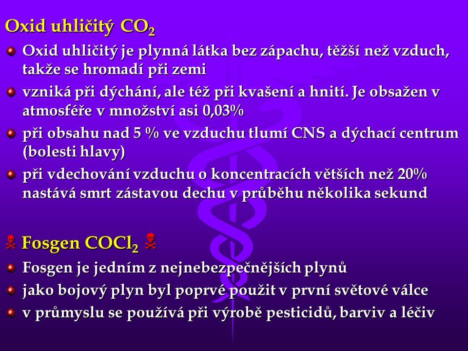 Oxid uhličitý CO 2 Oxid uhličitý je plynná látka bez zápachu, těžší než vzduch, takže se hromadí při zemi vzniká při dýchání, ale též při kvašení a hnití.
