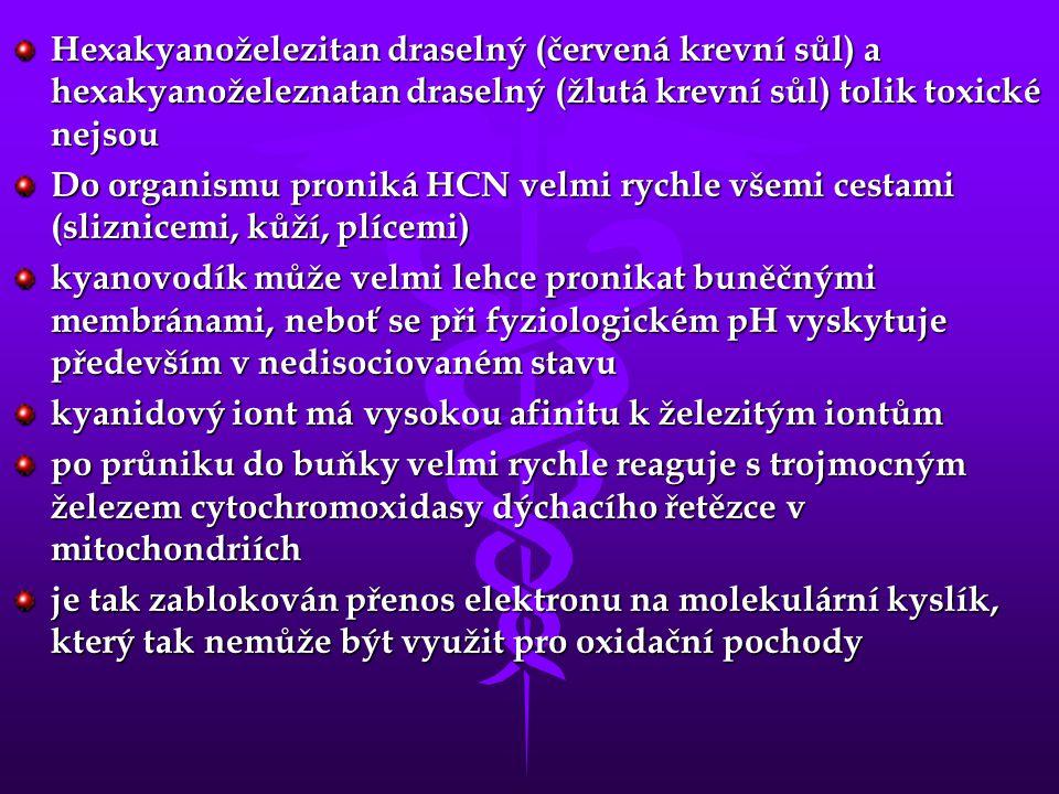 Hexakyanoželezitan draselný (červená krevní sůl) a hexakyanoželeznatan draselný (žlutá krevní sůl) tolik toxické nejsou Do organismu proniká HCN velmi rychle všemi cestami (sliznicemi, kůží, plícemi) kyanovodík může velmi lehce pronikat buněčnými membránami, neboť se při fyziologickém pH vyskytuje především v nedisociovaném stavu kyanidový iont má vysokou afinitu k železitým iontům po průniku do buňky velmi rychle reaguje s trojmocným železem cytochromoxidasy dýchacího řetězce v mitochondriích je tak zablokován přenos elektronu na molekulární kyslík, který tak nemůže být využit pro oxidační pochody