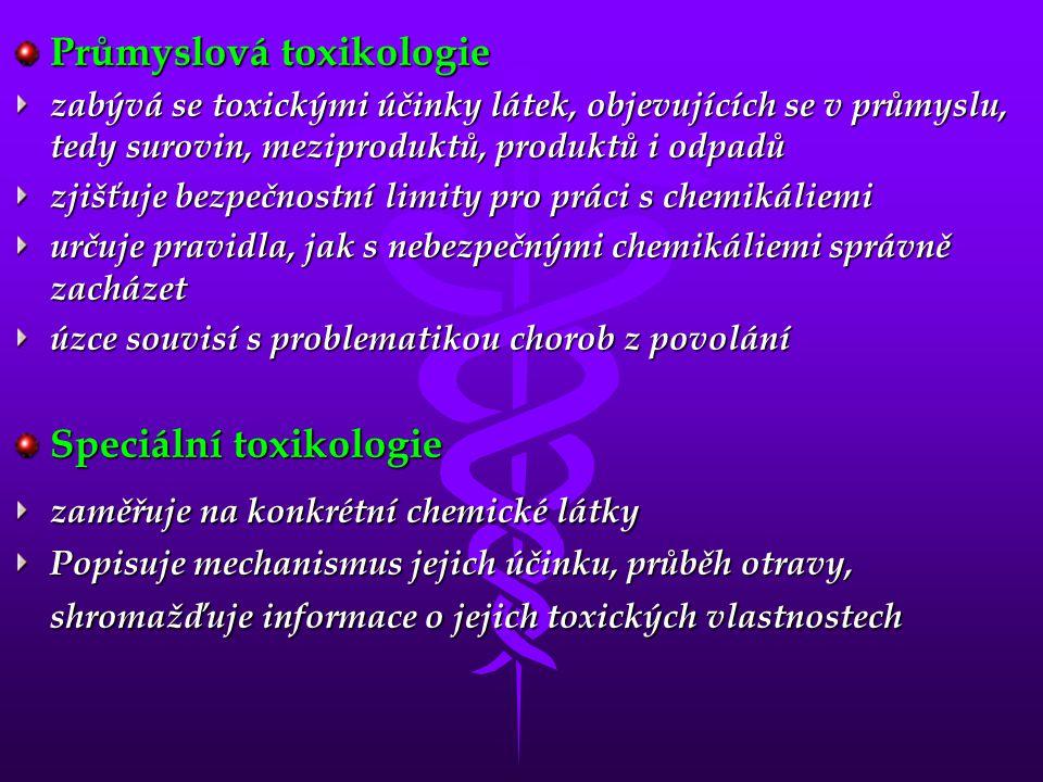 Průmyslová toxikologie zabývá se toxickými účinky látek, objevujících se v průmyslu, tedy surovin, meziproduktů, produktů i odpadů zjišťuje bezpečnostní limity pro práci s chemikáliemi určuje pravidla, jak s nebezpečnými chemikáliemi správně zacházet úzce souvisí s problematikou chorob z povolání Speciální toxikologie zaměřuje na konkrétní chemické látky Popisuje mechanismus jejich účinku, průběh otravy, shromažďuje informace o jejich toxických vlastnostech