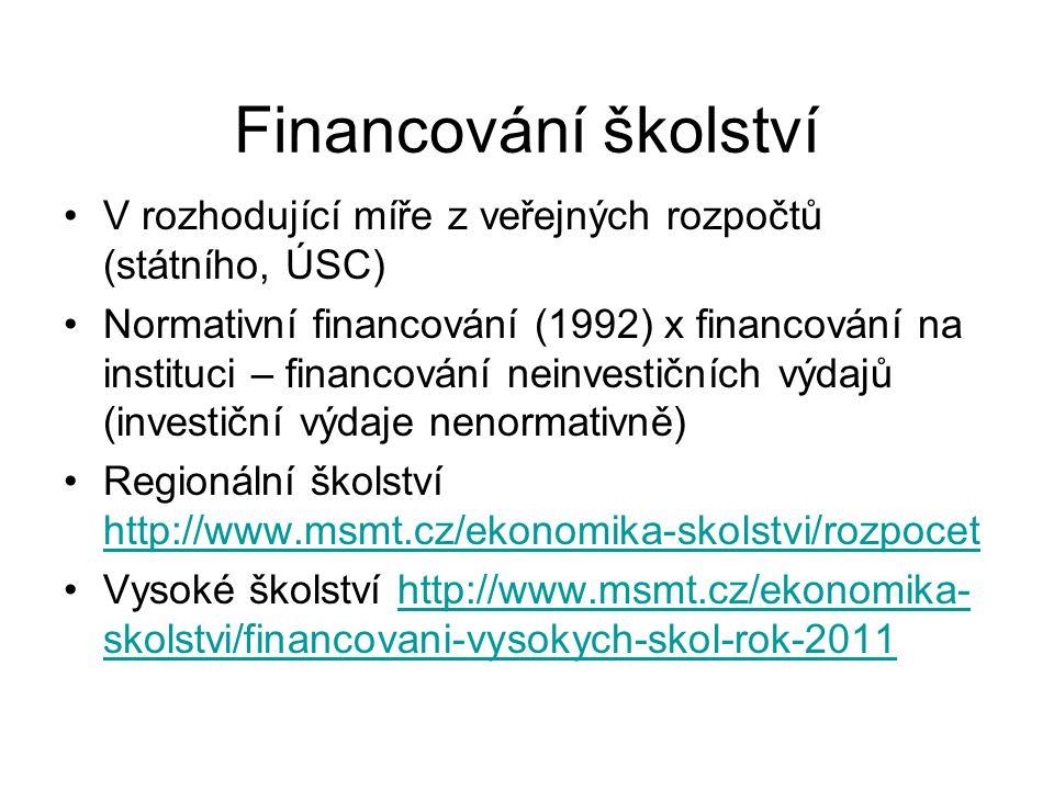 Financování školství V rozhodující míře z veřejných rozpočtů (státního, ÚSC) Normativní financování (1992) x financování na instituci – financování neinvestičních výdajů (investiční výdaje nenormativně) Regionální školství http://www.msmt.cz/ekonomika-skolstvi/rozpocet http://www.msmt.cz/ekonomika-skolstvi/rozpocet Vysoké školství http://www.msmt.cz/ekonomika- skolstvi/financovani-vysokych-skol-rok-2011http://www.msmt.cz/ekonomika- skolstvi/financovani-vysokych-skol-rok-2011