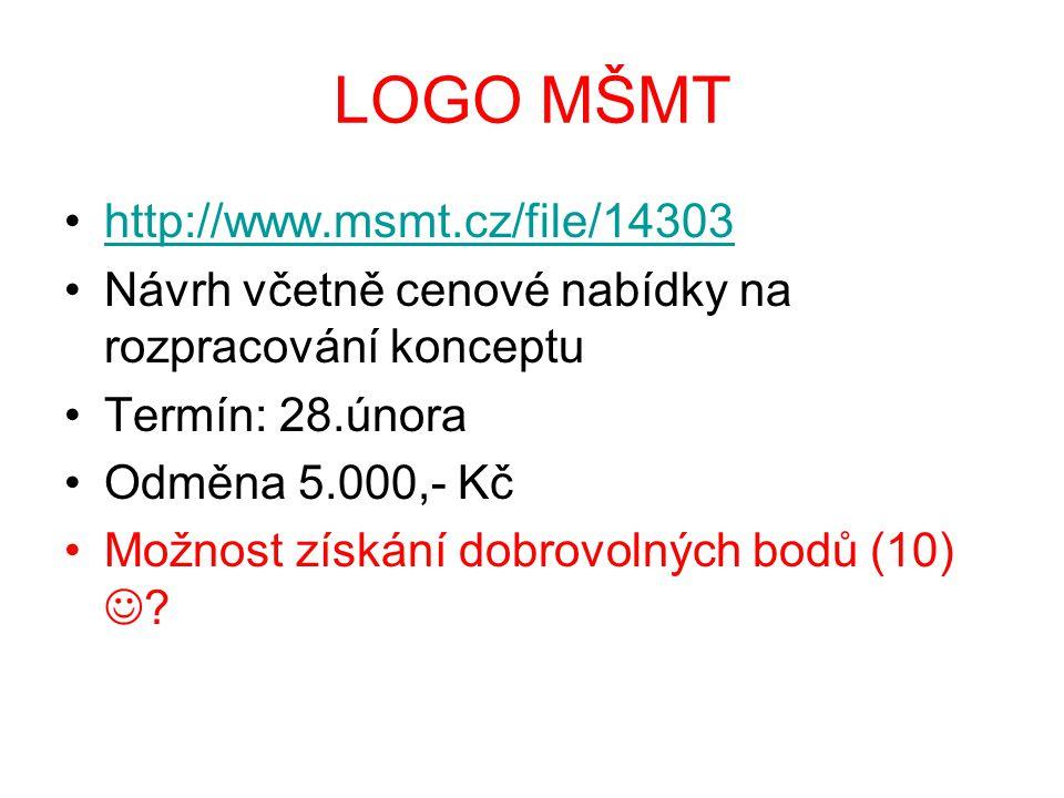 LOGO MŠMT http://www.msmt.cz/file/14303 Návrh včetně cenové nabídky na rozpracování konceptu Termín: 28.února Odměna 5.000,- Kč Možnost získání dobrovolných bodů (10)