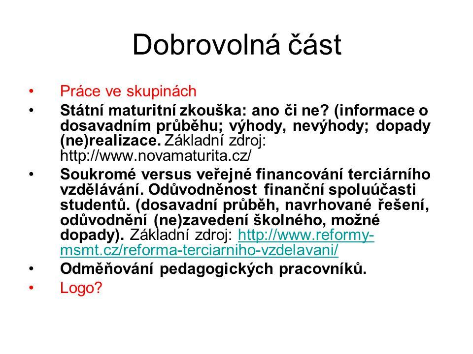 Harmonogram seminářů DatumSeminární skupina 01 – ČT 9:20 – 11:00 (lichý týden) 3.3.2011Ukázka návrhů loga.