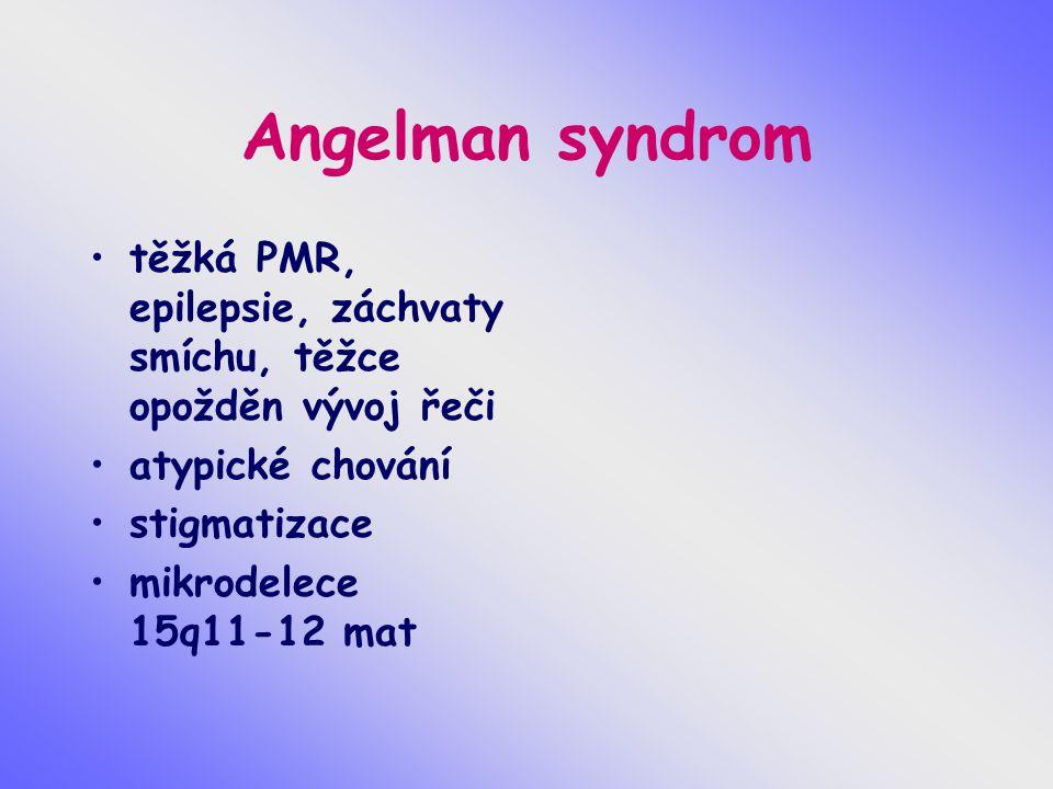 Angelman syndrom těžká PMR, epilepsie, záchvaty smíchu, těžce opožděn vývoj řeči atypické chování stigmatizace mikrodelece 15q11-12 mat