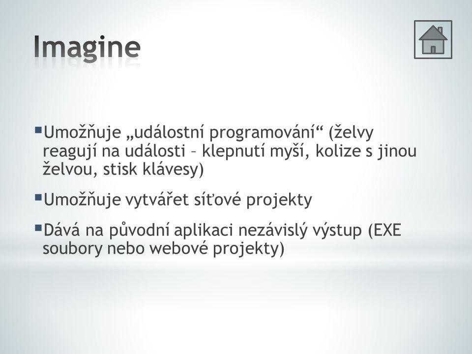 """ Umožňuje """"událostní programování (želvy reagují na události – klepnutí myší, kolize s jinou želvou, stisk klávesy)  Umožňuje vytvářet síťové projekty  Dává na původní aplikaci nezávislý výstup (EXE soubory nebo webové projekty)"""