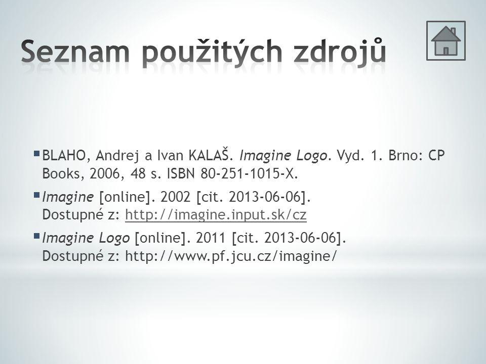  BLAHO, Andrej a Ivan KALAŠ. Imagine Logo. Vyd. 1. Brno: CP Books, 2006, 48 s. ISBN 80-251-1015-X.  Imagine [online]. 2002 [cit. 2013-06-06]. Dostup