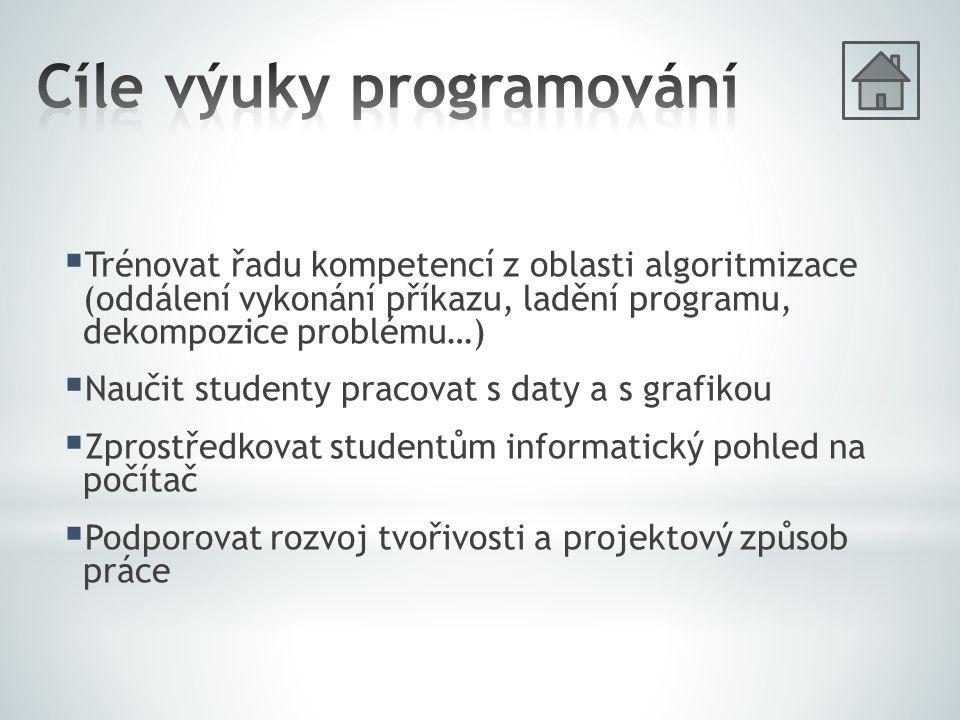 Trénovat řadu kompetencí z oblasti algoritmizace (oddálení vykonání příkazu, ladění programu, dekompozice problému…)  Naučit studenty pracovat s da