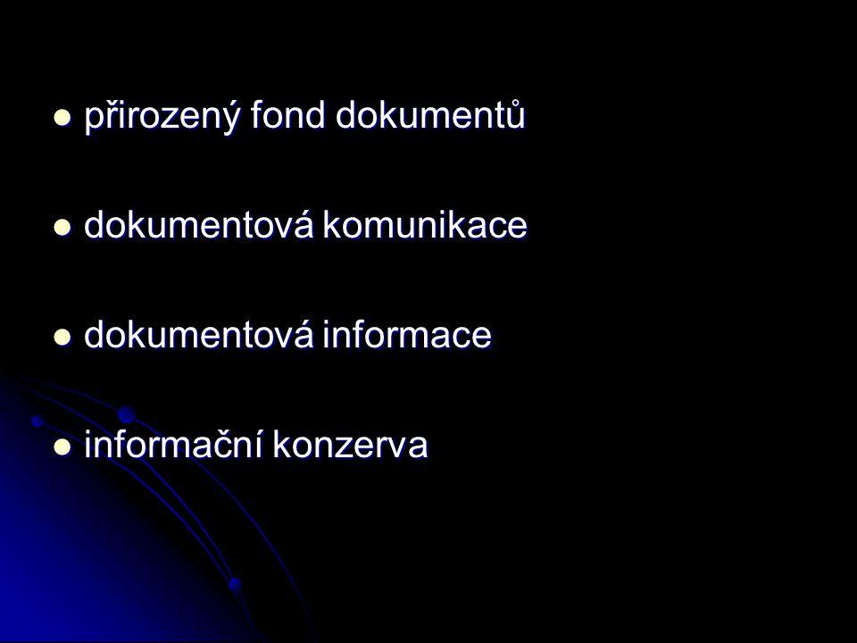 přirozený fond dokumentů přirozený fond dokumentů dokumentová komunikace dokumentová komunikace dokumentová informace dokumentová informace informační